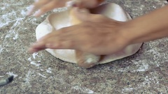 HD footage, close up hand chef rolling dough with rolling pin for baking Stock Footage