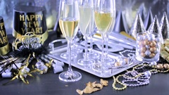New Year Eve party with champagne and chocolates. Arkistovideo
