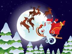 Santa Riding Christmas Sleigh at Night Piirros