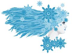 Winter Girl with Snowflakes Stock Illustration