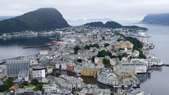 View over Alesund in Norway Stock Footage