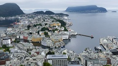 View over Alesund a town in Norway Stock Footage