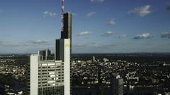 Frankfurt Commerzbank Tower and Sachsenhausen Stock Footage