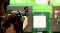 Shooting at a shooting range at targets.The sight of weapons in the dash. Stock Footage