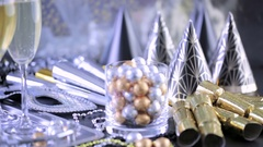 New Year Eve party with champagne and chocolates. Stock Footage