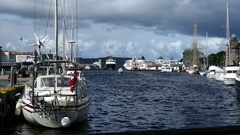 Sailboat at the Vagen harbour in Bergen Stock Footage