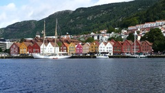Sailboat in front of Bryggen Stock Footage