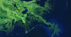 High-altitude overflight aerial of lower Mississippi River and deltas, Louisiana Stock Footage