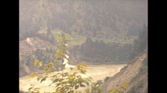 Vintage 16mm film, 1946 BC, Fraser river valley drive plate rail road below Stock Footage
