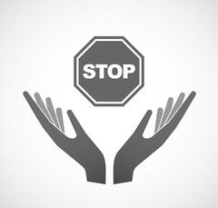 Isolated hands offering  a stop signal Stock Illustration