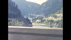 Vintage 16mm film, 1946 BC, Fraser river valley drive plate, Alexandria Bridge Stock Footage