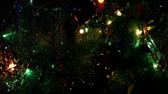 Shimmery garland on a Christmas tree Stock Footage