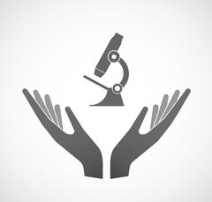 Isolated hands offering  a microscope icon Piirros
