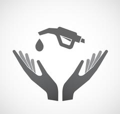 Isolated hands offering  a gas hose icon Stock Illustration