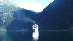 Big cruise ship at the Geiranger Fjord Stock Footage