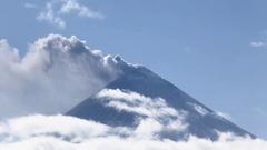 Explosive-effusive eruption of Klyuchevskoy Volcano. Kamchatka Stock Footage