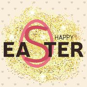 Gold glitter Happy Easter greeting card. Vector illustration. Stock Illustration