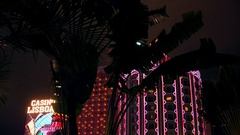 Macao - Palm tree silhouettes in front of Casino Lisboa glowing at night. Stock Footage