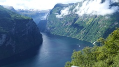 The Geiranger Fjord landscape Stock Footage