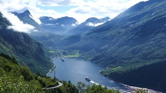 The Geiranger Fjord with cruise ships Stock Footage
