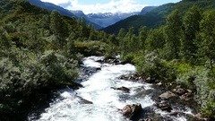 Wild river at Geiranger national park Stock Footage
