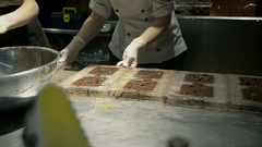 Chef to make delicious candy on chocolate factory of dark chocolate Stock Footage