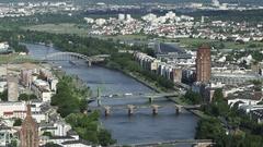 Frankfurt Aerial River Main Stock Footage