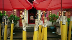 Macao - Burning incense stick in Chinese temple. Point of view shot. Stock Footage