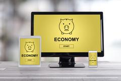 Economy concept on different devices Stock Photos