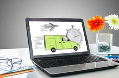 Express delivery concept on a laptop screen Stock Photos