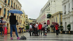 Macao - People with umbrellas at Largo do Senado square. 4K resolution. Stock Footage