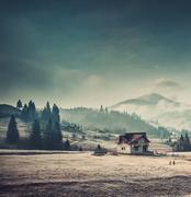 Rural house in the Carpathian mountains Stock Photos