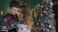 Husband with his wife celebrate Christmas and New Year. Stock Footage