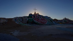 Timelapse of Sunrise over Famous Painted Landscape in Slab City  Stock Footage