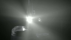 Light projector ray in dark room, changing beam in dusty air Stock Footage