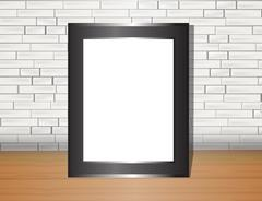 Vector trendy blank poster on the white brick wall realistic mockup Piirros