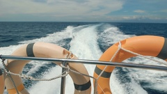 Yacht in the Indian Ocean on the island of Bali. Forever blue ocean, cloudless Stock Footage