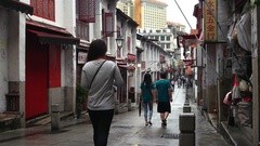 Macao -  People walking in Historic Centre of Macao. 4K resolution Stock Footage