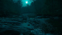 Beautifully Color Corrected Moon Lit Night Mountain Creek Awesome Stock Footage