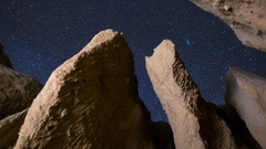 MoCo Astro Timelapse of Stars thru Canyon Formation in Mojave Desert -Zoom Out- Stock Footage