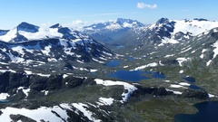 Snowy mountain landscape in Jotunheimen National Park Stock Footage