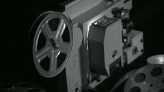 The rotation of the reel of the projector, the end of the film Stock Footage