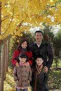 Family of four wearing coats standing under a tree with yellow leaves Stock Photos