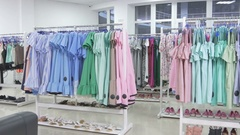 Beautiful and clean interior of the dressing room Stock Footage