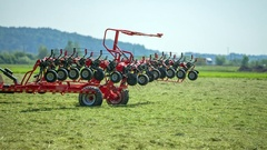 Turning on rotary hay rakes Stock Footage