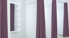 Light interior with big mirrors in dressing room Stock Footage