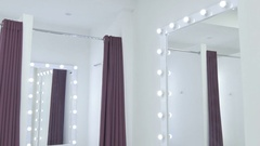 Light cabin in dressing room in the showroom Stock Footage