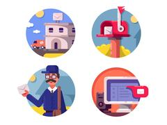 Mail post service icons Stock Illustration