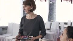 Master class for make-up artists. Stock Footage