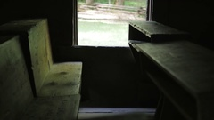 One Room Wooden School Desk and Window Stock Footage